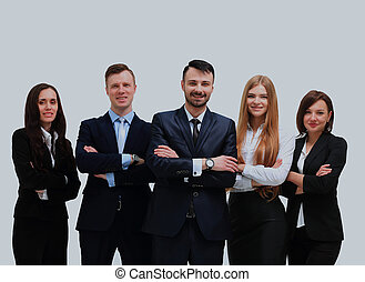 Happy business team smiling - isolated over a white background.