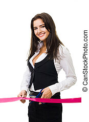 Happy business woman cutting red ribbon opening ceremony, isolated on white
