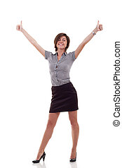 business woman excited giving thumbs up