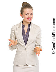 Happy business woman explaining something
