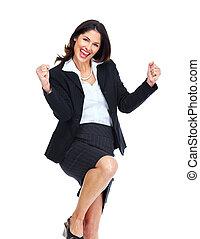 Happy business woman. - Happy business woman isolated on ...