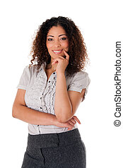 Happy smiling formal corporate business woman with curly hair full confidence standing, isolated.