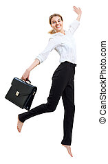 Happy business woman in formal wear jumping with briefcase.