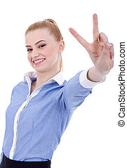 business woman making victory gesture