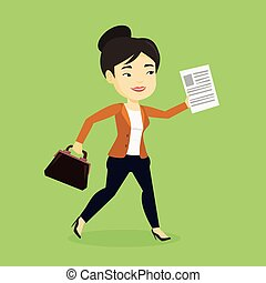 Happy business woman running vector illustration.