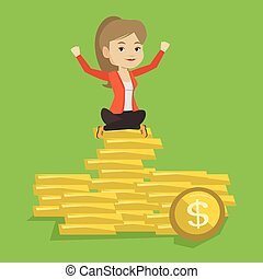 Happy business woman sitting on golden coins.