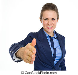 Happy business woman stretching hand for handshake