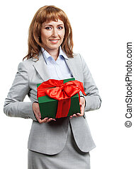 Happy business woman with Christmas gift