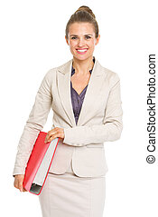 Happy business woman with folder