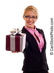 Happy business woman with gift