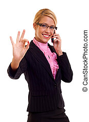 Happy business woman with phone