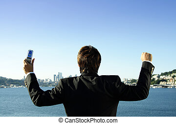 Happy businessman - A happy businessman after receiving a ...