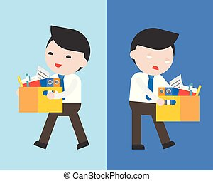 Happy businessman and  bored businessman carry a document box , fired from job and new job offer concept