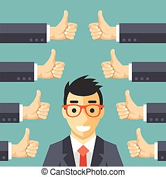 Happy businessman and many hands
