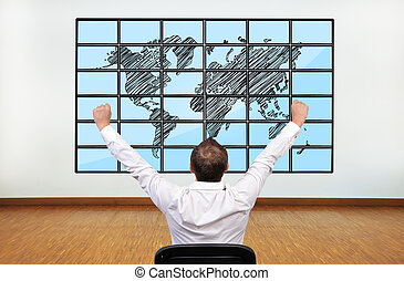 happy businessman and map