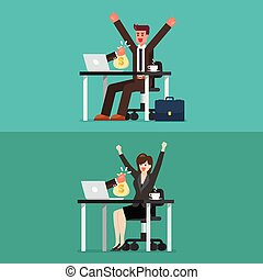 Happy businessman and woman getting bag of money from his laptop