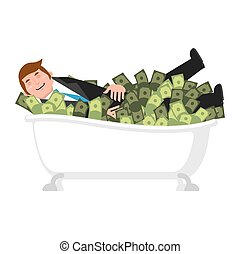 Happy businessman bath in money. bathe of cash. lucky financial