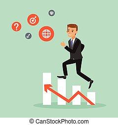 happy businessman climbing on red arrow chart