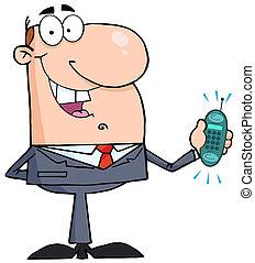 Happy Businessman - Caucasian Businessman Holding A Ringing...