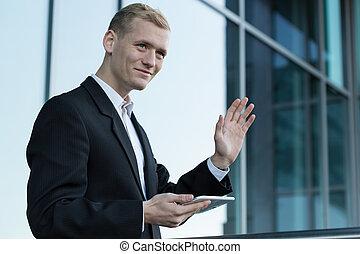 Happy businessman during break