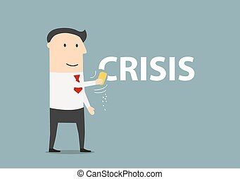 Happy businessman erasing the word crisis - Successful and...