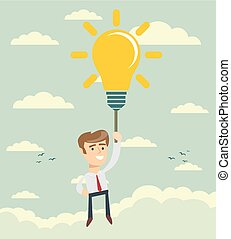 Happy businessman flying holding idea bulb as balloon .