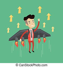 Happy businessman flying on the rocket to success.