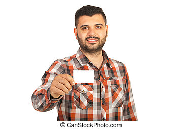 Happy businessman giving blank card