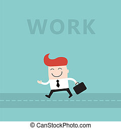 Happy businessman go to work lovely cartoon character