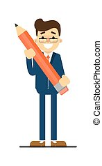 Happy businessman hold big pencil