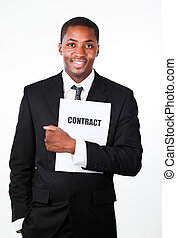 Happy businessman holding a contract