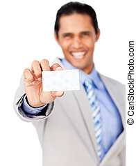 Happy businessman holding a white card