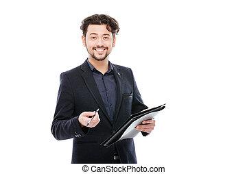 Happy businessman holding clipboard