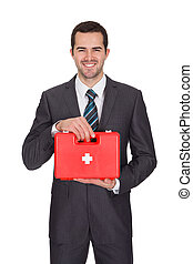 Happy Businesswoman Holding First Aid Box. Isolated On White