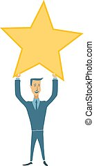 Happy businessman holding gold star. Victory, rating symbol. Vector illustration in flat style, isolated on white.