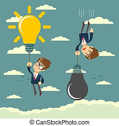 Happy businessman holding idea bulbs as balloon flying pass another businessman.