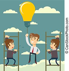 Happy businessman holding idea bulbs as balloon flying pass another businessman climbing a ladder.