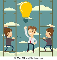 Happy businessman holding idea bulbs as balloon flying pass another businessman climbing a ladder. Business competition concept.
