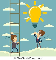 man holding idea bulbs as balloons flying pass another businessman climbing a ladder.