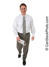 Happy Businessman Holding Newspaper Working