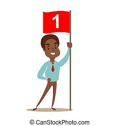 Happy businessman holding number one flag.
