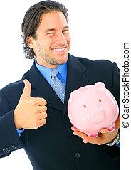 Happy Businessman Holding Piggy Bank