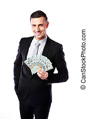 Happy businessman holding US dollars isolated on a white background
