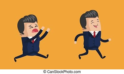 happy businessman icons - happy businessman and sad one...