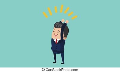 happy businessman icons - happy businessman celebrating...