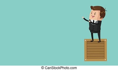 happy businessman icons - happy businessman holding bullhorn...