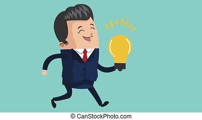 happy businessman icons - happy businessman holding lit...