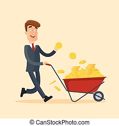 Happy businessman in grey suit pushing red cart full of money and holding gold coin in hand. Wheelbarrow with money. Business and finance concept. Stock vector illustration in flat style
