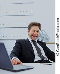 happy businessman in office.