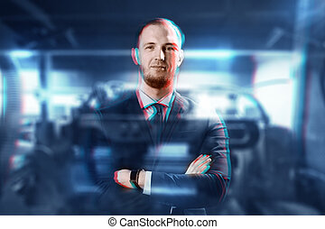 happy businessman in suit over abstract background